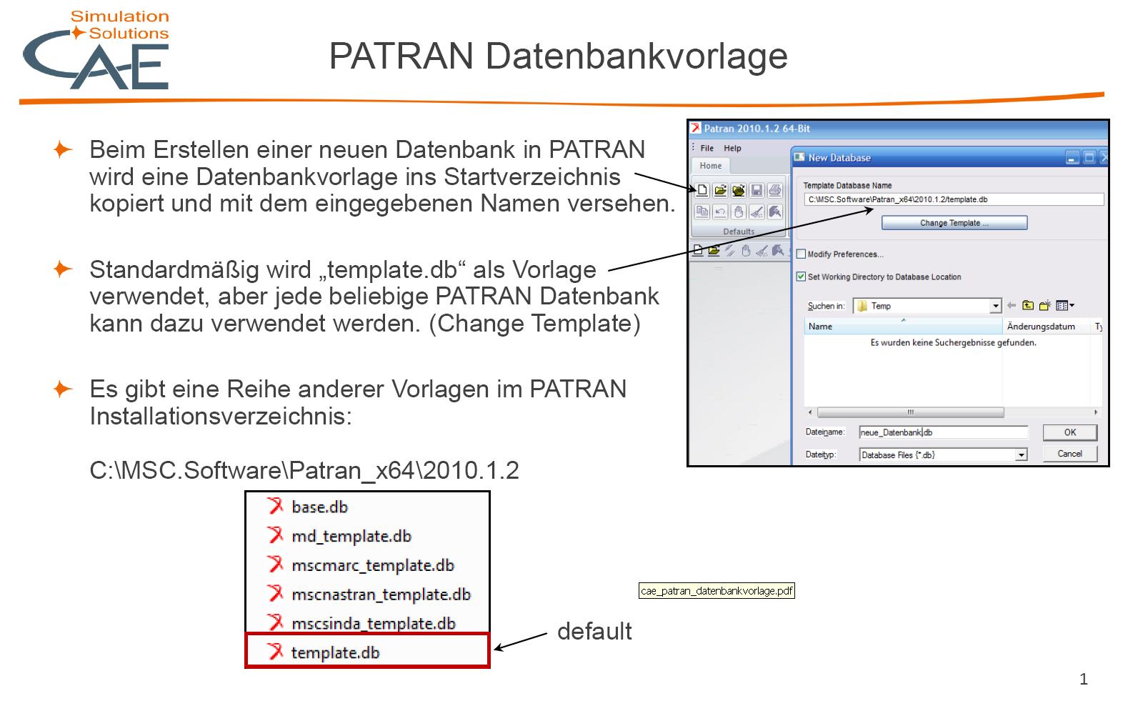 Welche Grundeinstellungen muss man in PATRAN Datenbanken beachten ...